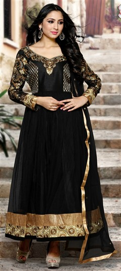 488996 Black and Grey  color family Bollywood Salwar Kameez in Net fabric with Lace, Machine Embroidery, Stone, Thread work .