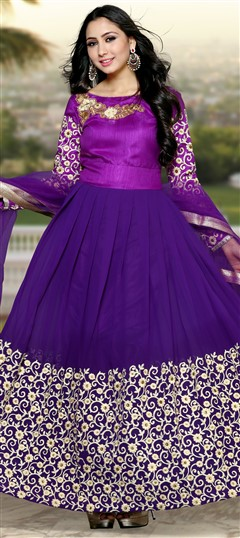 488997 Purple and Violet  color family Bollywood Salwar Kameez in Georgette fabric with Lace, Machine Embroidery, Patch, Stone, Thread work .