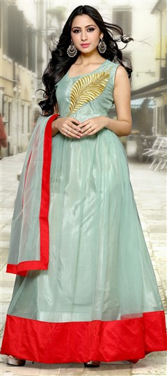 488999 Green  color family Bollywood Salwar Kameez in Net fabric with Machine Embroidery,Thread work .