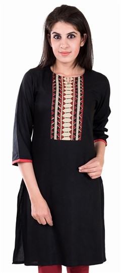 489130 Black and Grey  color family Printed Kurtis in Rayon fabric with Printed work .