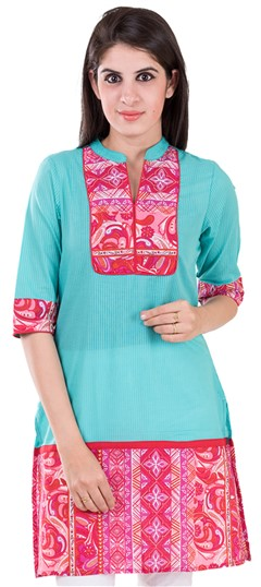 489134 Blue,Red and Maroon  color family Printed Kurtis in Cotton fabric with Printed work .