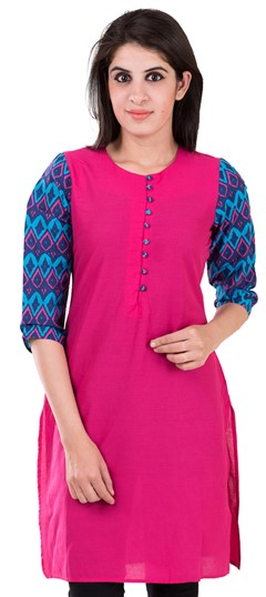 489135 Pink and Majenta  color family Printed Kurtis in Cotton fabric with Printed work .