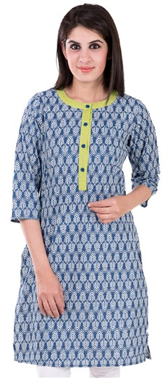 489136 Blue  color family Printed Kurtis in Cotton fabric with Printed work .