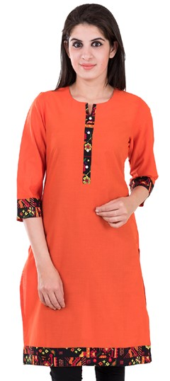 489139 Orange  color family Printed Kurtis in Cotton fabric with Printed work .