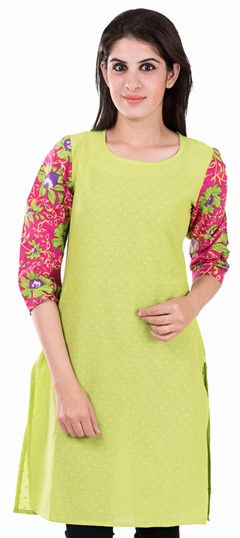 489142 Green  color family Printed Kurtis in Cotton fabric with Printed work .