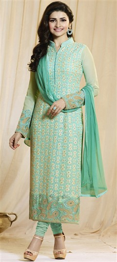 489233 Green  color family Bollywood Salwar Kameez in Faux Georgette fabric with Machine Embroidery, Resham, Thread work .