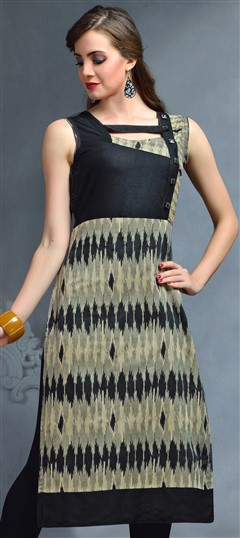 489293 Black and Grey  color family Kurti in Cotton, Jacquard fabric with Printed work .
