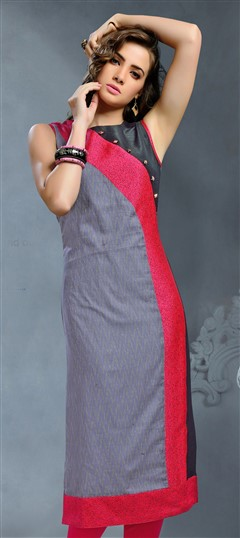 489294 Black and Grey  color family Kurti in Cotton, Jacquard fabric with Thread work .