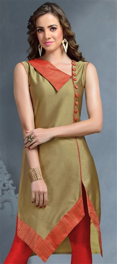 489295 Beige and Brown  color family Kurti in Silk fabric with Thread work .