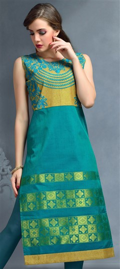 489297 Green  color family Kurti in Banarasi, Jacquard fabric with Machine Embroidery, Thread work .