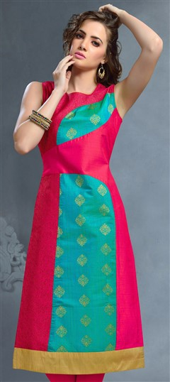 489299 Blue, Pink and Majenta  color family Kurti in Banarasi, Jacquard fabric with Thread work .