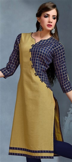 489300 Beige and Brown,Blue  color family Kurti in Cotton,Jacquard fabric with Thread work .