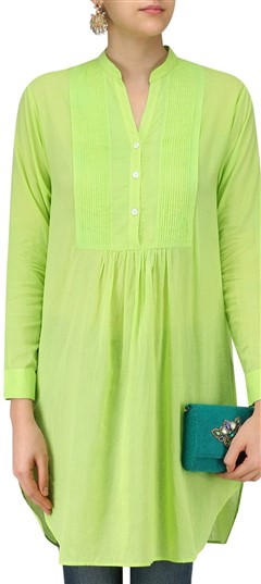 489345 Green  color family Kurti in Silk fabric with Thread work .