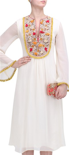 489352 White and Off White  color family Kurti in Georgette fabric with Thread work .