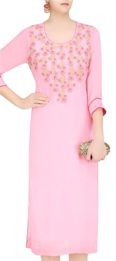 489357 Pink and Majenta  color family Kurti in Georgette fabric with Machine Embroidery,Resham,Thread work .