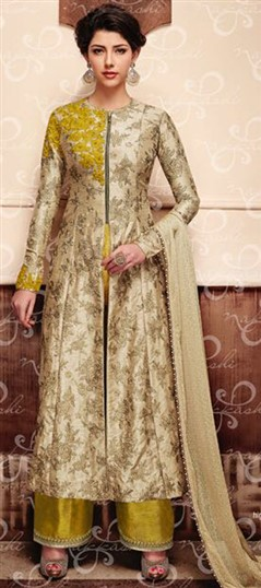 489430 Beige and Brown  color family Party Wear Salwar Kameez in Silk fabric with Lace,Machine Embroidery,Stone,Zari work .