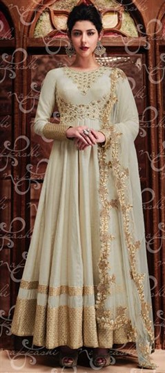 489432 White and Off White  color family Anarkali Suits in Silk fabric with Lace,Machine Embroidery,Stone,Zari work .