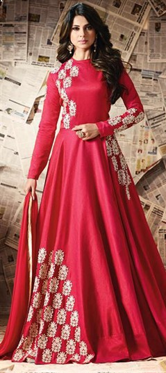 489467 Red and Maroon  color family Anarkali Suits in Silk fabric with Machine Embroidery,Resham,Thread work .