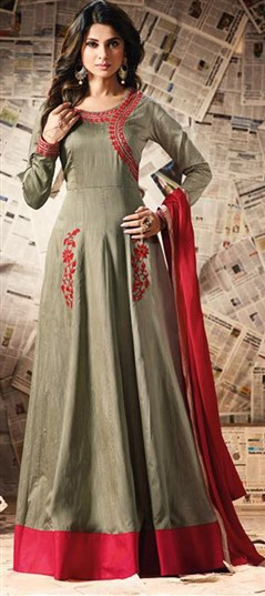 489470 Beige and Brown  color family Anarkali Suits in Silk fabric with Machine Embroidery,Resham,Thread work .