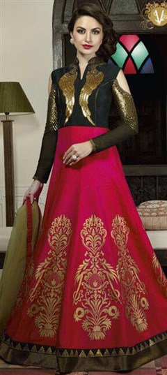 489520 Black and Grey, Pink and Majenta  color family gown in Silk fabric with Patch, Printed, Sequence work .