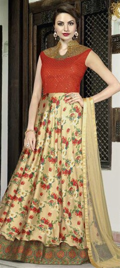 489521 Beige and Brown,Red and Maroon  color family gown in Satin fabric with Floral,Sequence,Stone work .