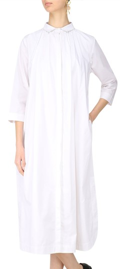 489572 White and Off White  color family Kurti in Silk fabric with Thread work .