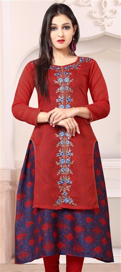 489627 Red and Maroon  color family Kurti in Chanderi Silk,Jute fabric with Machine Embroidery,Printed,Thread work .