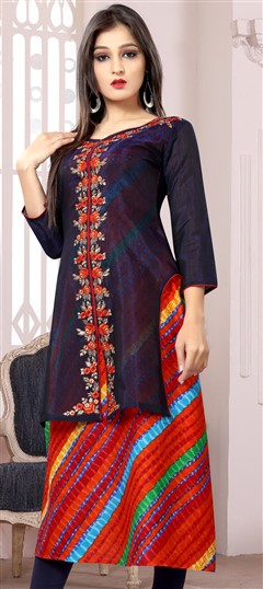 489628 Blue  color family Kurti in Chanderi, Cotton fabric with Machine Embroidery, Printed, Thread work .