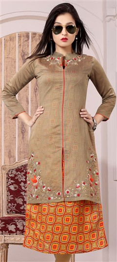 489629 Beige and Brown  color family Kurti in Bhagalpuri, Chanderi fabric with Machine Embroidery, Printed, Thread work .