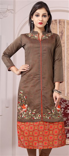 489630 Beige and Brown  color family Kurti in Bhagalpuri, Chanderi fabric with Machine Embroidery, Printed, Thread work .