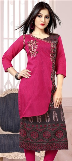 489631 Pink and Majenta  color family Kurti in Chanderi, Rayon fabric with Machine Embroidery, Printed, Thread work .
