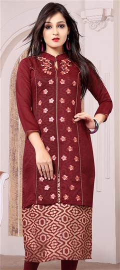 489633 Orange  color family Kurti in Chanderi, Jacquard fabric with Machine Embroidery, Printed, Thread work .