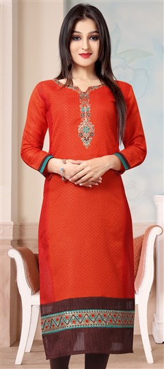 489635 Orange  color family Kurti in Banarasi,Chanderi fabric with Machine Embroidery,Thread work .