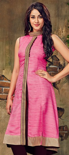 490025 Pink and Majenta  color family Long Kurtis in Silk fabric with Lace work .