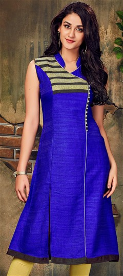 490026 Blue  color family Long Kurtis in Silk fabric with Lace work .