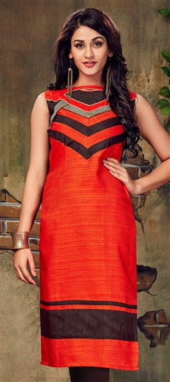 490027 Orange  color family Long Kurtis in Silk fabric with Lace work .
