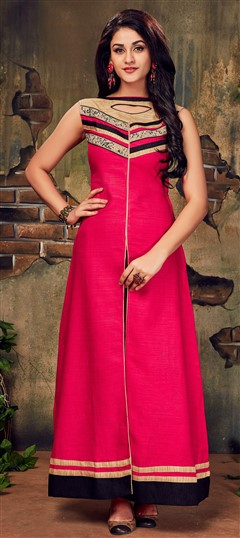 490030 Pink and Majenta  color family Long Kurtis in Silk fabric with Lace work .