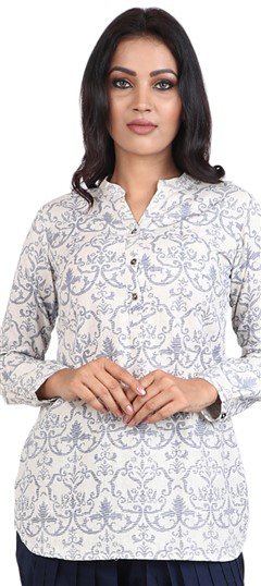 490042 White and Off White  color family Cotton Kurtis, Printed Kurtis in Cotton fabric with Printed work .