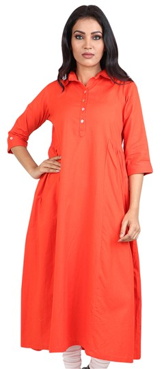 490043 Orange  color family Kurti in Cotton fabric with Thread work .