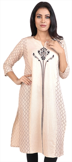 490044 White and Off White  color family Cotton Kurtis, Printed Kurtis in Cotton fabric with Printed work .