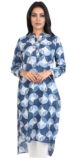 490045 Blue  color family Cotton Kurtis, Printed Kurtis in Cotton fabric with Printed work .