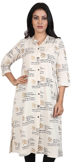 490046 Beige and Brown  color family Cotton Kurtis, Printed Kurtis in Cotton fabric with Printed work .