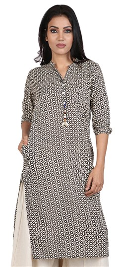 490048 Black and Grey  color family Cotton Kurtis, Printed Kurtis in Cotton fabric with Printed work .