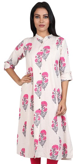 490049 Beige and Brown, Pink and Majenta  color family Cotton Kurtis, Printed Kurtis in Cotton fabric with Printed work .