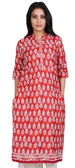490056 Red and Maroon  color family Cotton Kurtis, Printed Kurtis in Cotton fabric with Printed work .