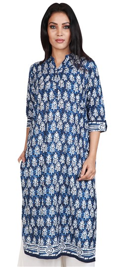 490057 Blue  color family Cotton Kurtis, Printed Kurtis in Cotton fabric with Printed work .