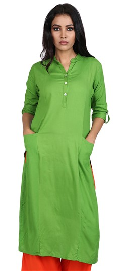 490058 Green  color family Kurti in Rayon fabric with Thread work .