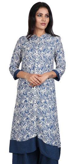 490059 Blue, White and Off White  color family Cotton Kurtis, Printed Kurtis in Cotton fabric with Printed work .