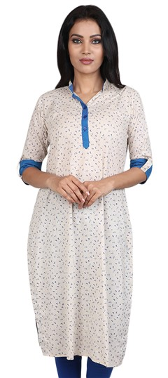 490060 White and Off White  color family Cotton Kurtis, Printed Kurtis in Cotton fabric with Printed work .