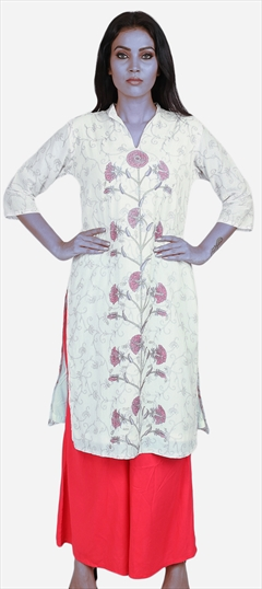 490063 White and Off White  color family Cotton Kurtis, Printed Kurtis in Cotton fabric with Printed work .